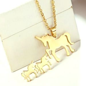 Gold Unicorn Necklace and Earring Set